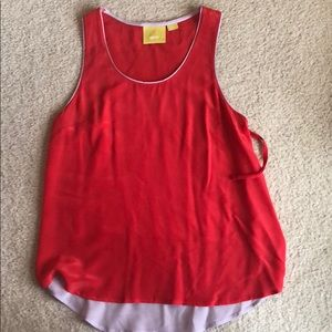 Red and lavender silk tank from Anthropologie.